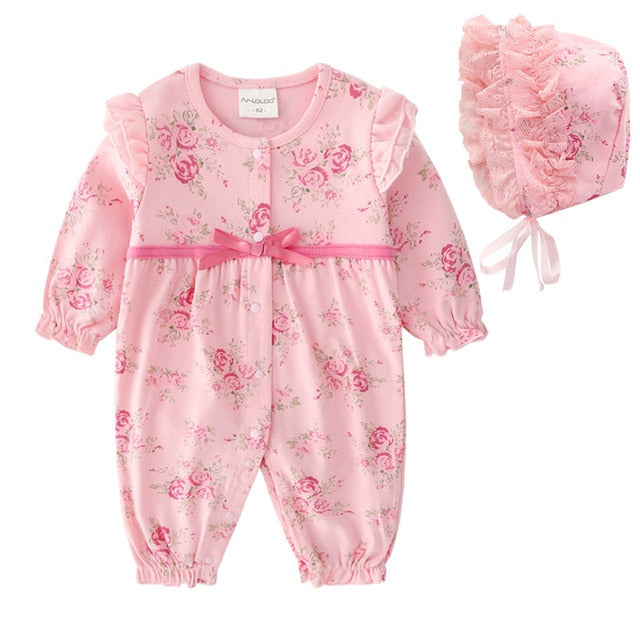 Floral  Ruffle Long Sleeve Bodysuit With Hat 3M-12M