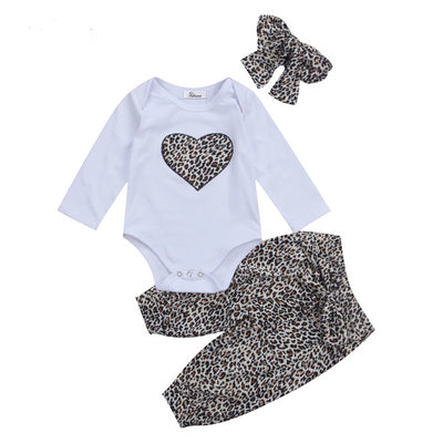 Leopard Heart Romper +Pants+Headband 3PCS 3M-18M - childzania