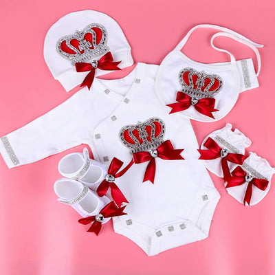 7PCS  Newborn Welcome Set With Jewel Crown And Silky Bow - childzania