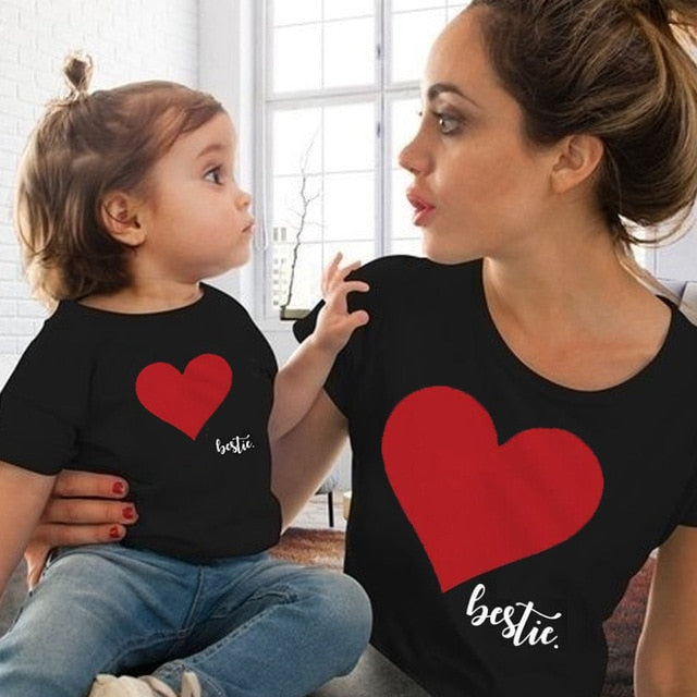 Heart Tee-Shirt Mother Daughter 1Y-14Y - childzania