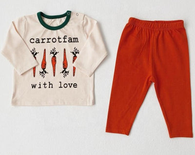 Carrotfam with love Funny Clothing Set 7M-24M