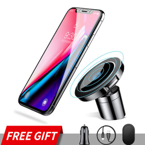 360° Magnetic 3in1 Car Phone Holder with Fast Wireless Charging for iPhone and Other