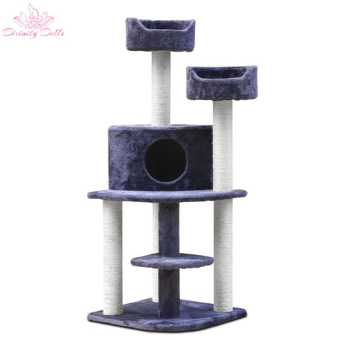 i.Pet 126cm Multi Level Cat Scratching Tree - Grey - Pet Care