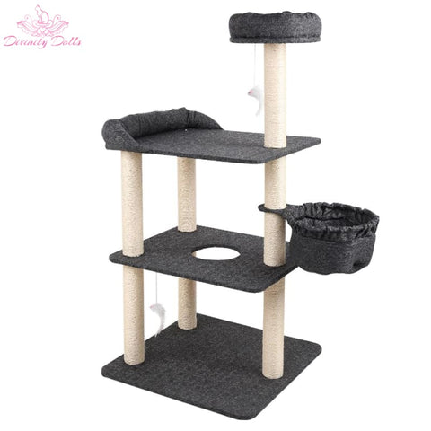 i.Pet 132cm Multi Level Cat Scratching Tree Post - Grey - Pet Care