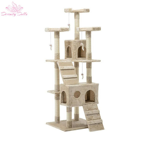 i.Pet 180cm Multi Level Cat Scratching Post - Beige - Pet Care