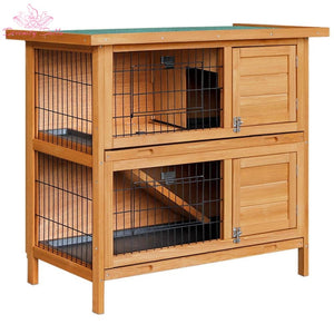 i.Pet 2 Storey Wooden Rabbit Hutch - Pet Care