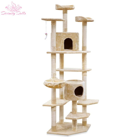 i.Pet 203cm Cat Scratching Post - Beige - Pet Care