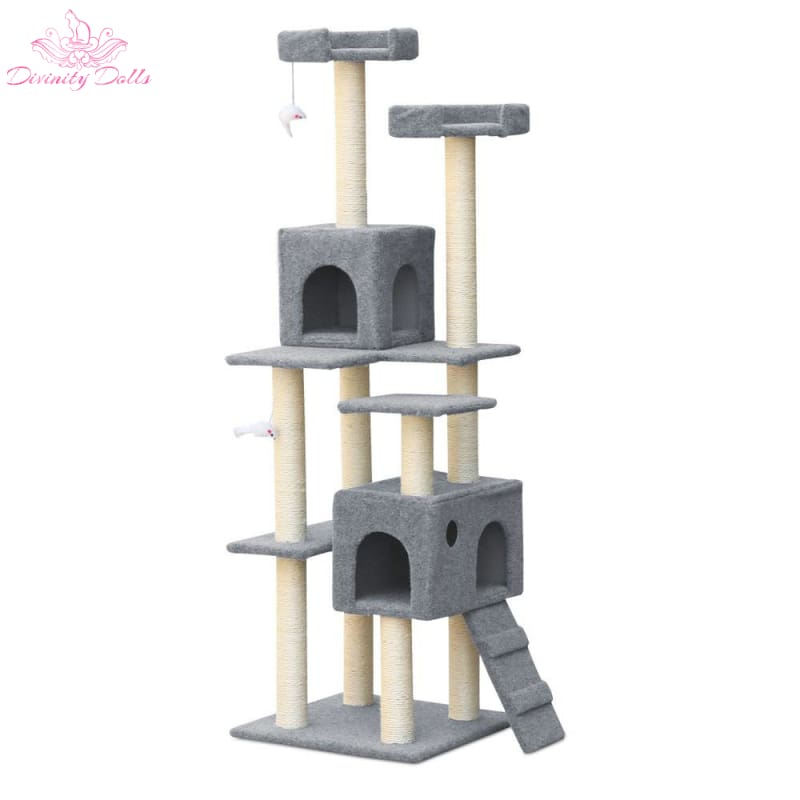 i.Pet 7 Level Cat Scratching Post - Grey - Pet Care