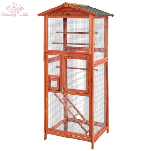i.Pet Bird Cage Wooden Pet Cages Aviary Large Carrier Travel Canary Cockatoo Parrot XL - Pet Care