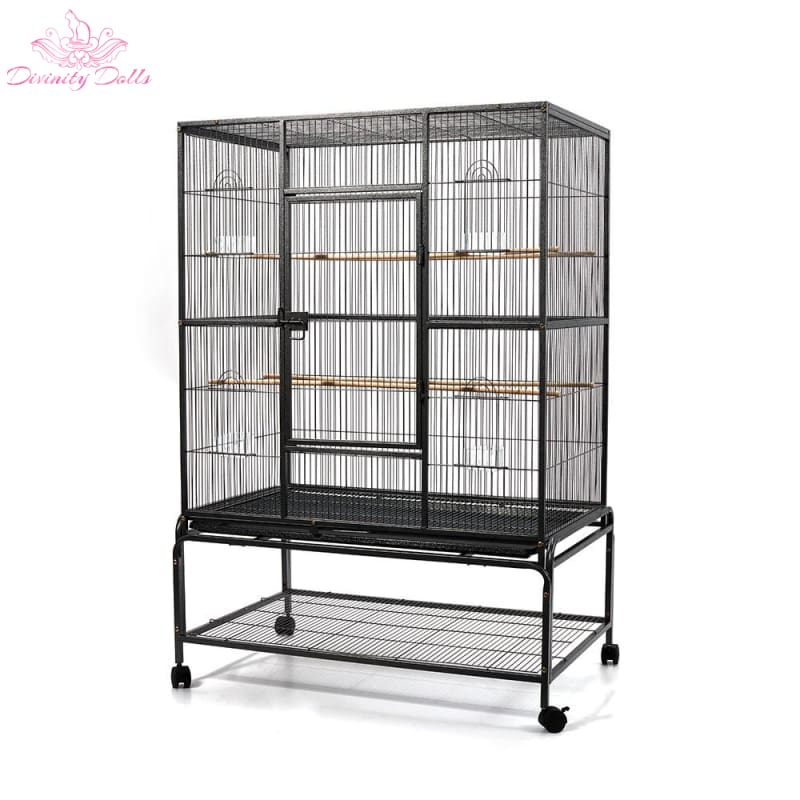 i.Pet Large Bird Cage with Perch - Black - Pet Care
