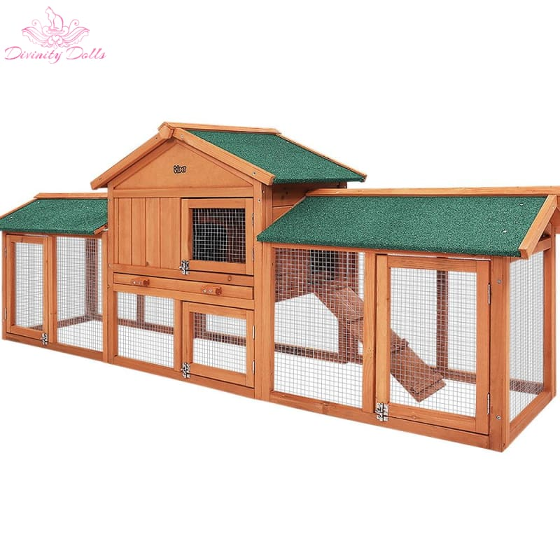 i.Pet Rabbit Hutch Hutches Large Metal Run Wooden Cage Chicken Coop Guinea Pig - Pet Care
