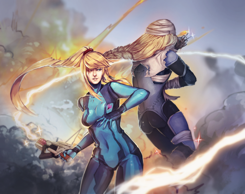 Samus and Sheik - 11x17 Poster Print