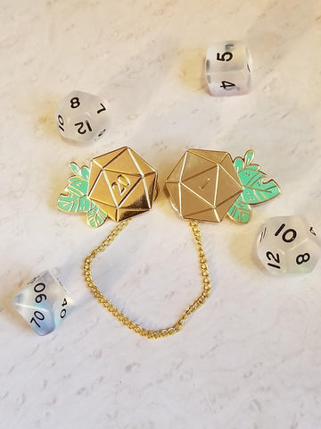 Chained D20 CritiCollar Enamel Pins