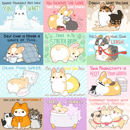 Self Care Corgi Postcard Prints