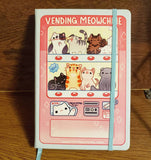 Vending Meowchine A5 Notebook 80 Dotted Sheets Vegan Leather