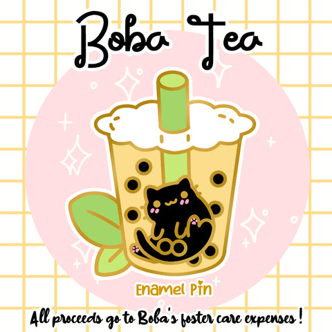 Boba Tea Kitty Enamel Pin Pre-Order