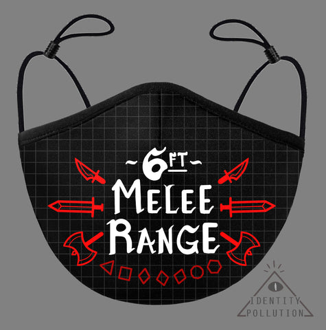 6ft Melee Range Re-Usable Mask with Pocket+Filter ⏰