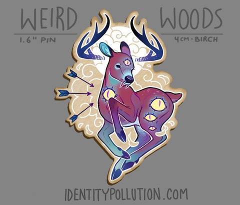 Cryptid Deer Birch Wood Pin