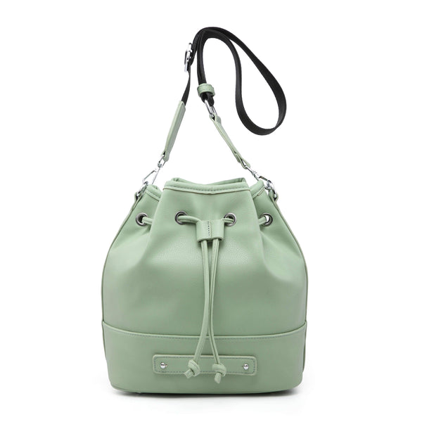 BUCKET BAG WITH LARGE FABRIC SHOULDER STRAP