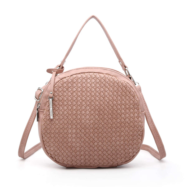 CIRCULAR HANDBAG WITH CHECKERBOARD PATTERN