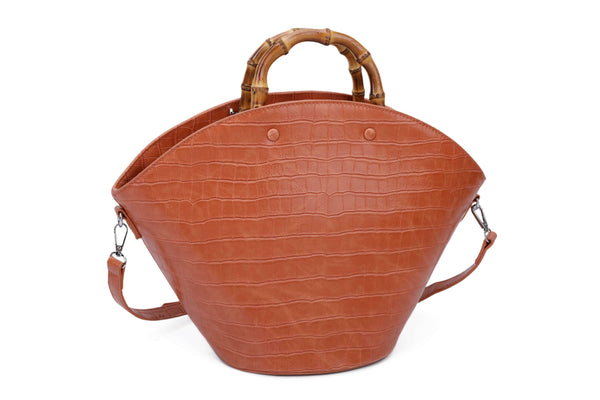 CROCODILE-PATTERN HANDBAG WITH BAMBOO HANDLES - VIAVOLTURNO