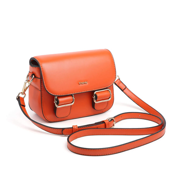 CROSS BODY BAG WITH FAUX LEATHER AND METAL INSERTS