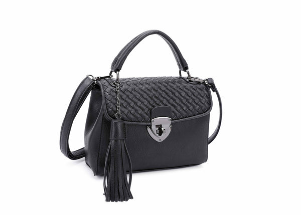 CROSSBODY BAG WITH CHECKERBOARD PATTERN AND TASSEL - VIAVOLTURNO