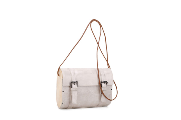 CROSSBODY BAG WITH WOOD SIDES - VIAVOLTURNO