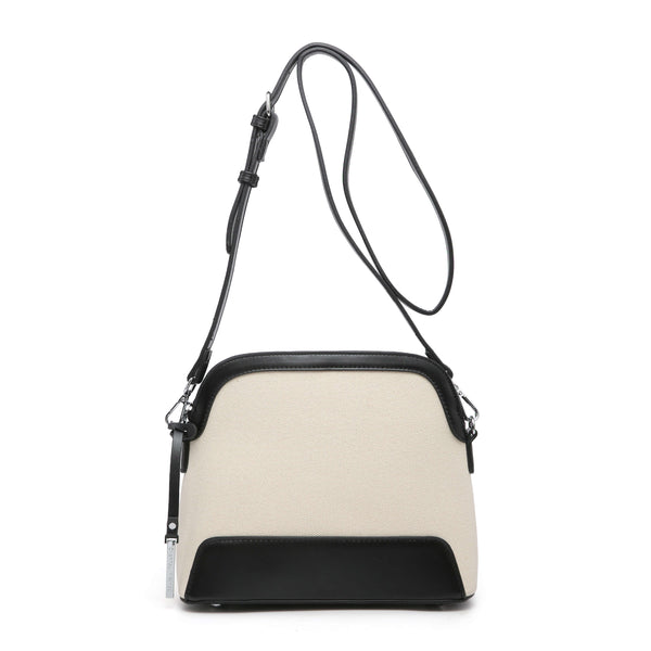 FABRIC AND FAUX LEATHER CROSS BODY BAG