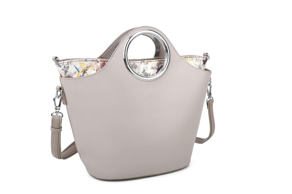 HANDBAG WITH CIRCULAR HANDLES AND FLOWERY INNER COMPARTMENT - VIAVOLTURNO