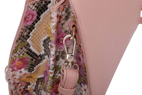 HANDBAG WITH FLOWERY SNAKE-PATTERN SIDES AND RING HANDLE - VIAVOLTURNO