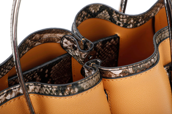 HANDBAG WITH SNAKE PRINT DECORATIONS AND METALLIC HANDLES - VIAVOLTURNO