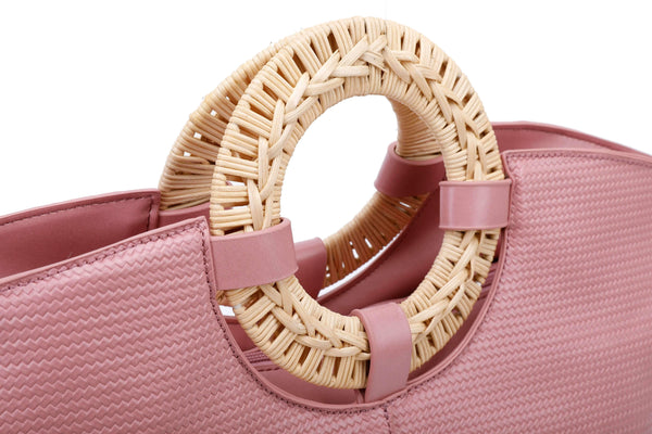 HANDBAG WITH STRAW BRAIDED RING HANDLES - VIAVOLTURNO