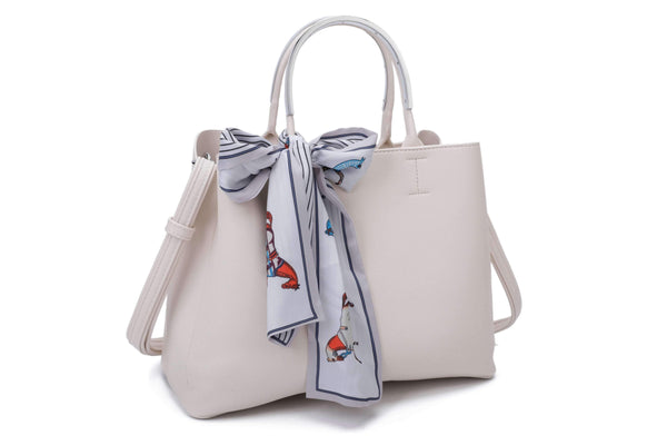 HANDLE BAG WITH SHOULDER STRAP AND DECORATIVE PRINTED SCARF - VIAVOLTURNO