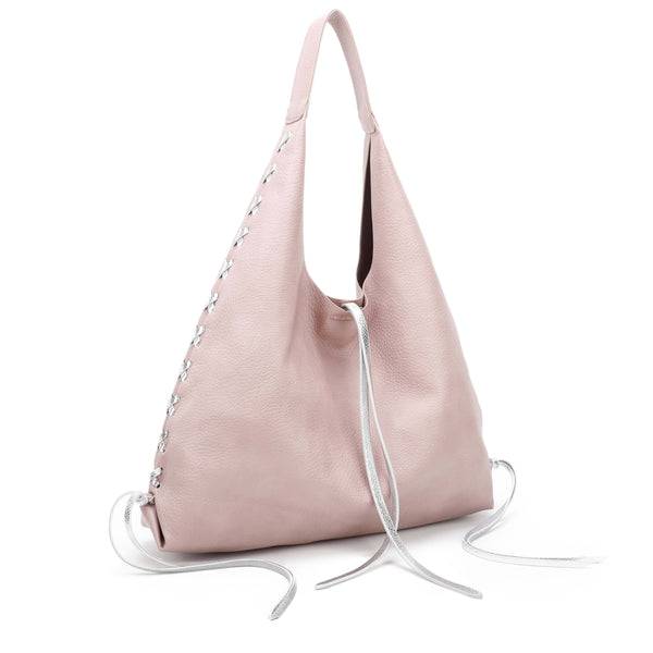 HOBO BAG WITH BRAIDED SILVER DECORATIONS - VIAVOLTURNO