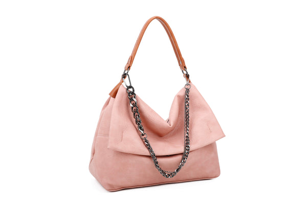HOBO BAG WITH FRONT FLAP AND METALLIC CHAIN DECORATION - VIAVOLTURNO