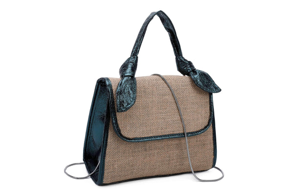 IMITATION JUTE HANDBAG WITH METALLIC DETAILS - VIAVOLTURNO
