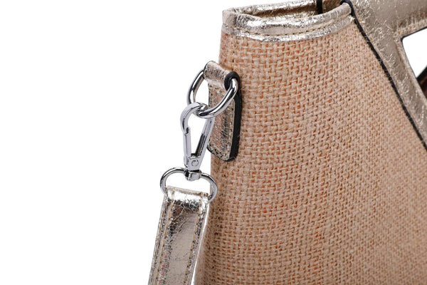 IMITATION JUTE HANDLE BAG WITH ADJUSTABLE SHOULDER STRAP - VIAVOLTURNO