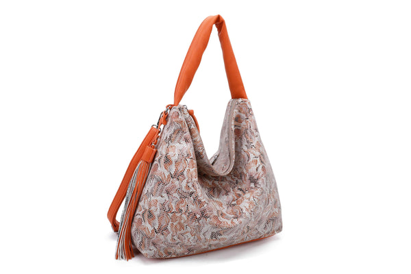 PRINTED HOBO BAG WITH DECORATIVE NET - VIAVOLTURNO