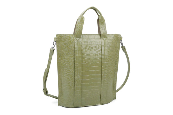RECTANGULAR CROCODILE-PATTERN TOTE BAG - VIAVOLTURNO
