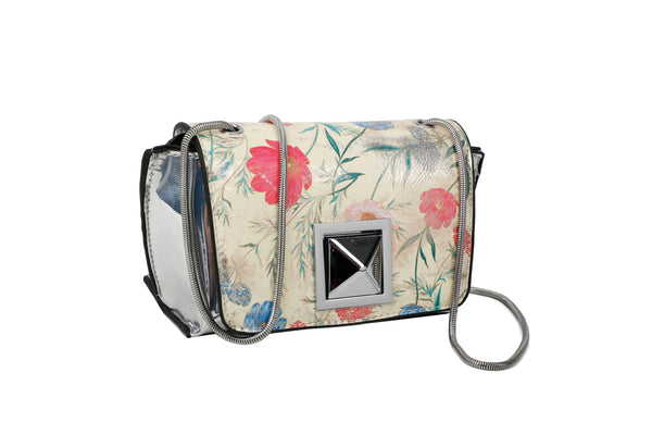 SILVER POLISHED CROSSBODY BAG WITH FLOWERY FLAP AND LARGE METALLIC STUD - VIAVOLTURNO