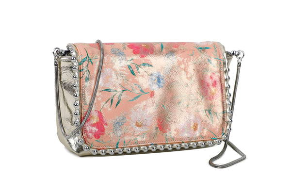 SILVER POLISHED CROSSBODY BAG WITH FLOWERY FLAP AND METALLIC DECORATIONS - VIAVOLTURNO