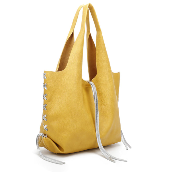 TOTE BAG WITH BRAIDED SILVER DECORATIONS - VIAVOLTURNO