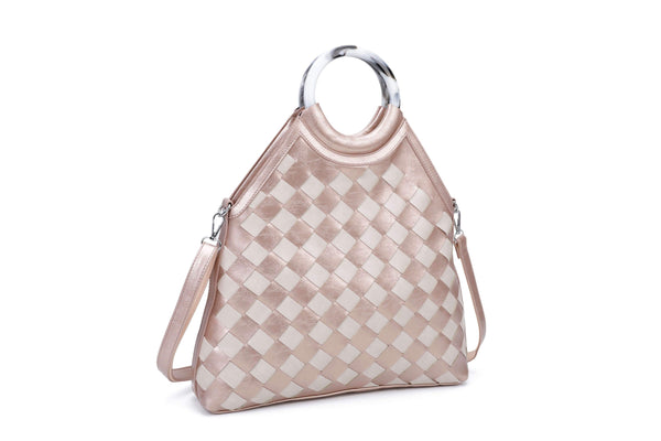TOTE BAG WITH CHECKERBOARD PATTERN AND RING HANDLES - VIAVOLTURNO