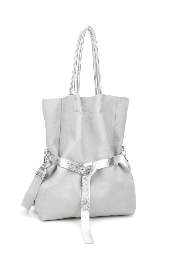 TOTE BAG WITH SILVER NARROW STRAP - VIAVOLTURNO