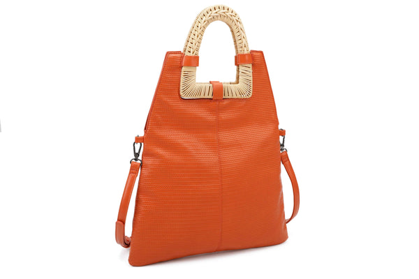 TOTE BAG WITH STRAW BRAIDED HANDLES - VIAVOLTURNO