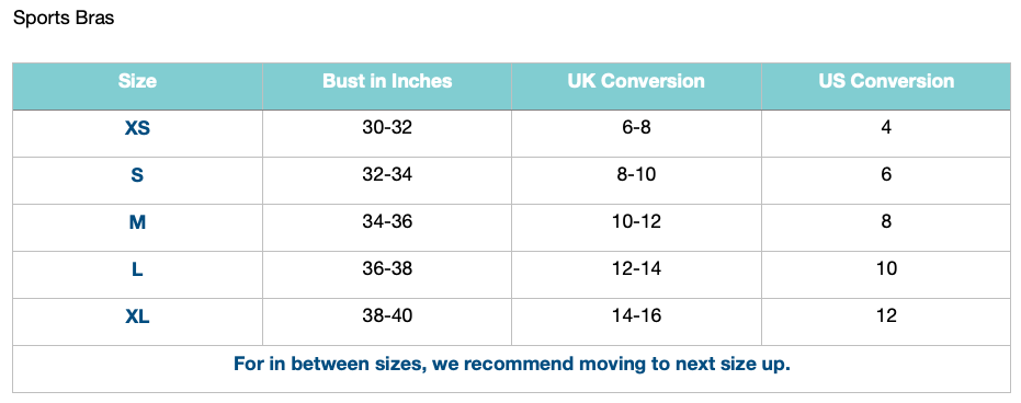 Women's bra sizing chart