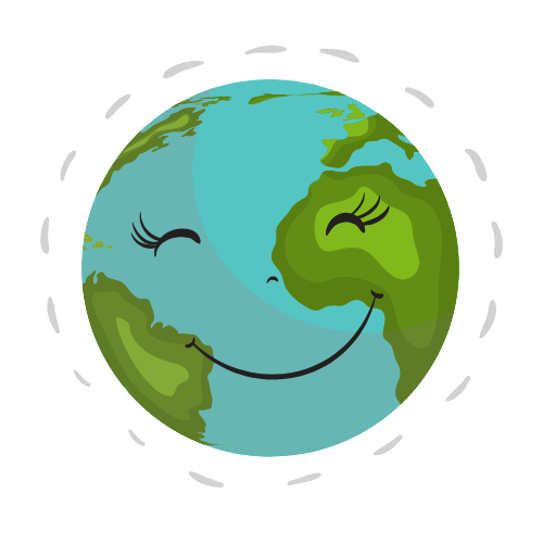 Happy earth with a smile.