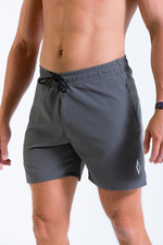 Mens Vitesse lightweight above knee shorts in Carbon Grey with drawstring