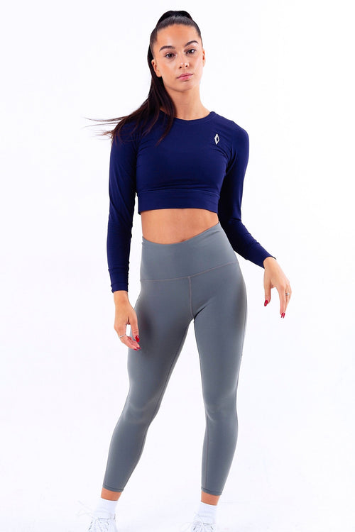 Soft Touch City Crop Long Sleeve Gym Top Blue